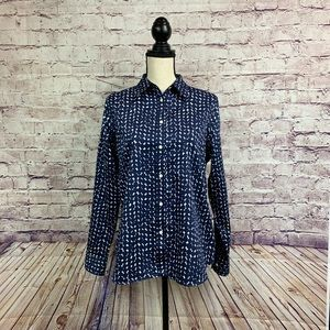 Chaps Blue Print Buttoned Front Long Sleeve Shirt